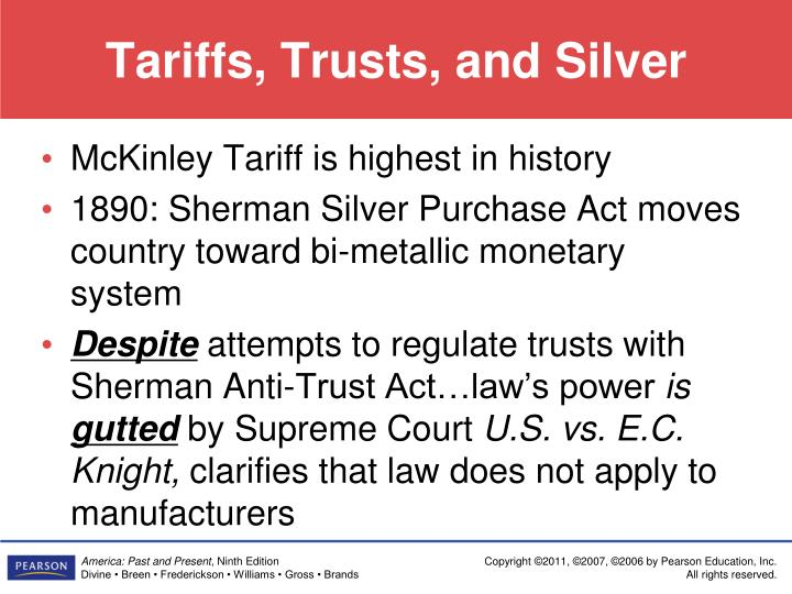 Tariffs, Trusts, and Silver