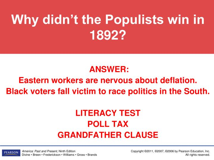 Why didn't the Populists win in 1892?