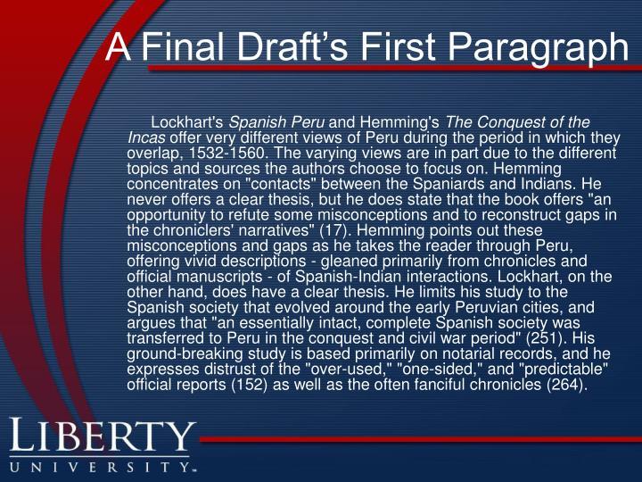 A Final Draft's First Paragraph