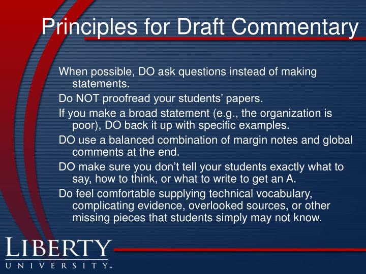 Principles for draft commentary