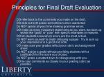 principles for final draft evaluation