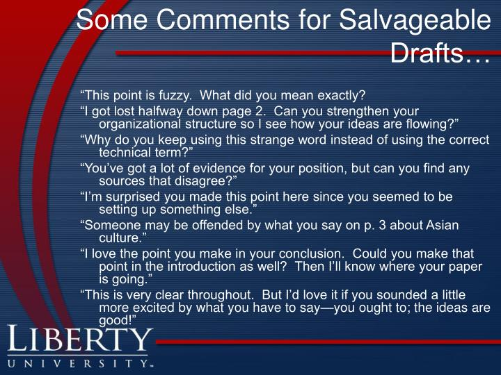 Some Comments for Salvageable Drafts…
