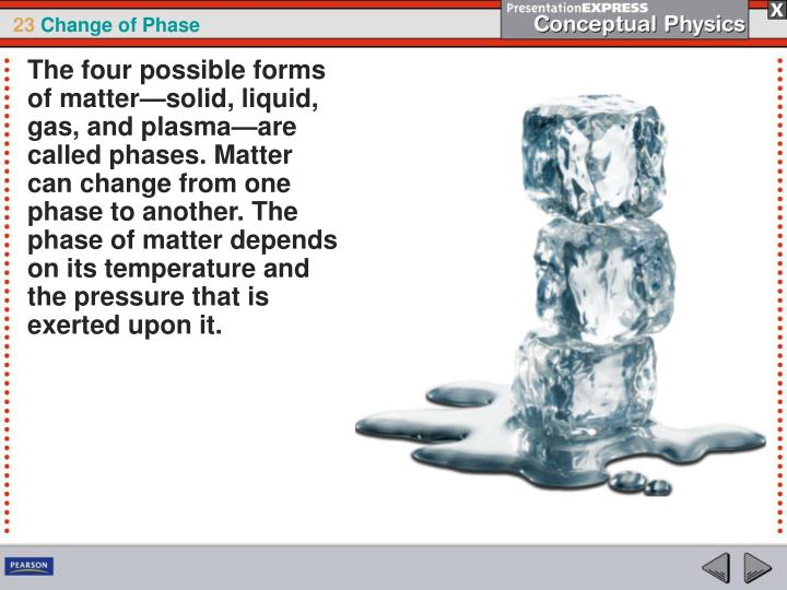 The four possible forms of matter—solid, liquid, gas, and plasma—are called