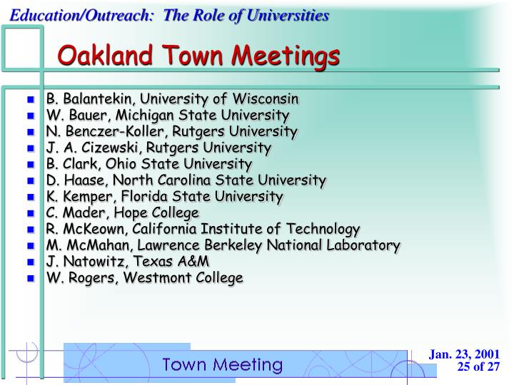 Oakland Town Meetings
