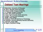 oakland town meetings