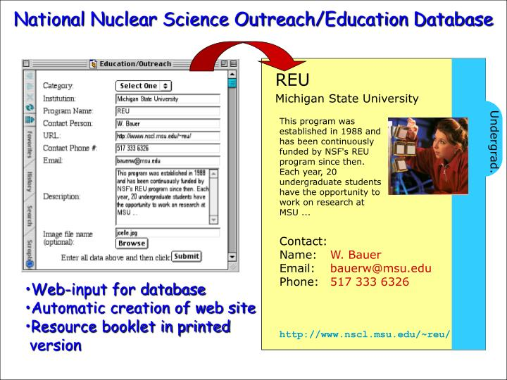 National Nuclear Science Outreach/Education Database
