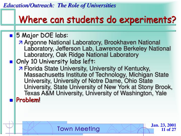 Where can students do experiments?