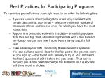 best practices for participating programs