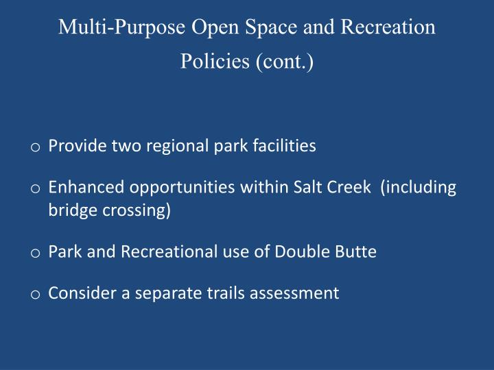 Multi-Purpose Open Space and Recreation Policies (cont.)