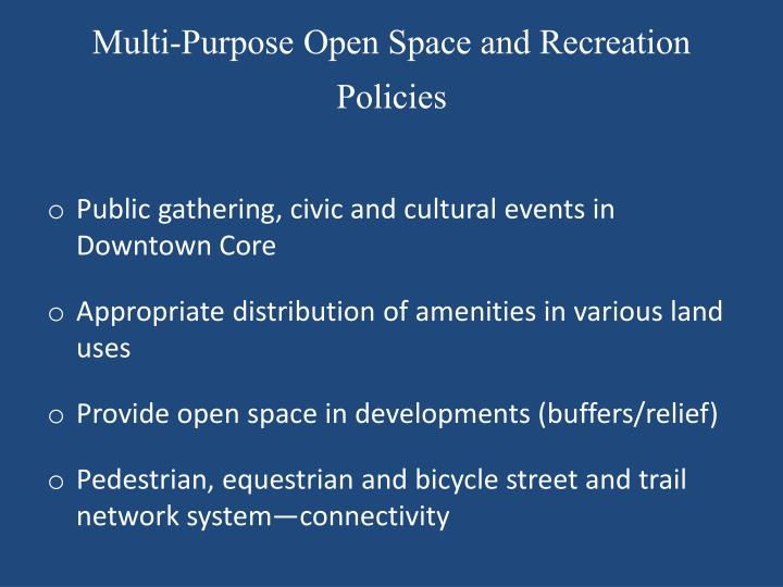 Multi-Purpose Open Space and Recreation Policies
