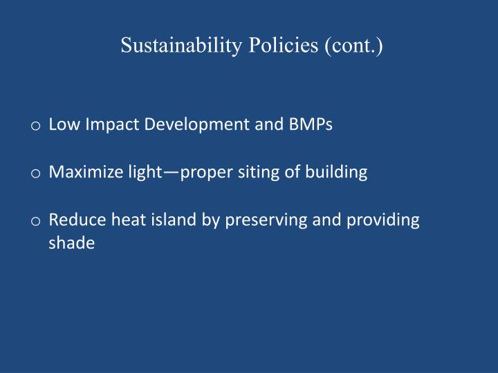 Sustainability Policies (cont.)