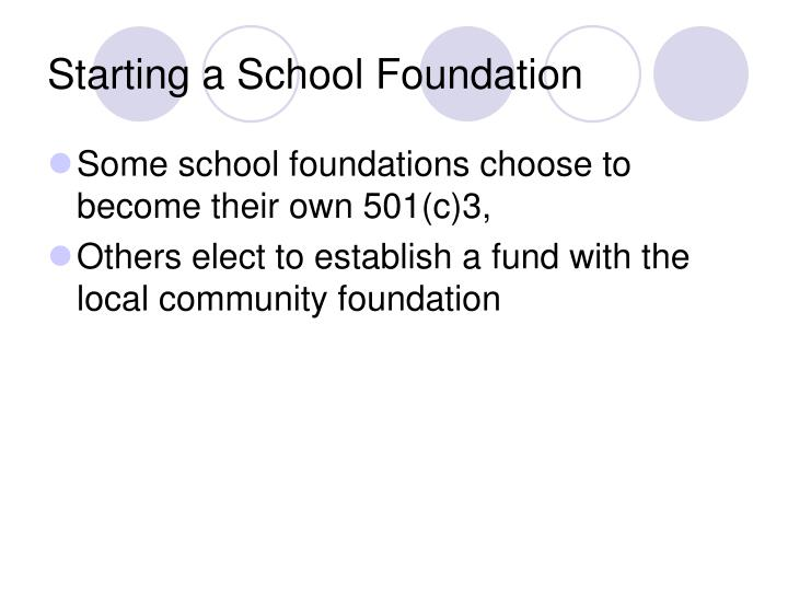 Starting a School Foundation