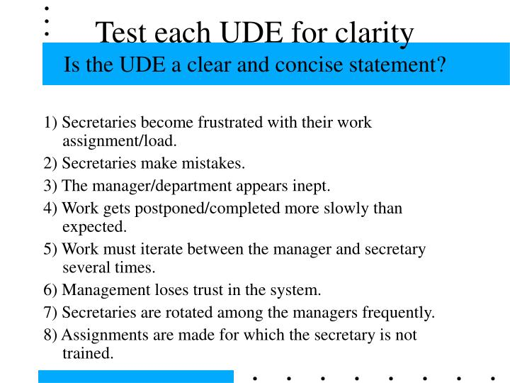 Test each UDE for clarity