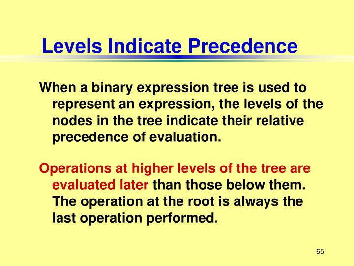 Levels Indicate Precedence
