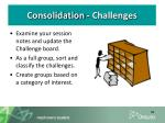 consolidation challenges