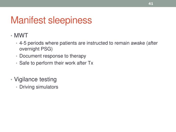 Manifest sleepiness