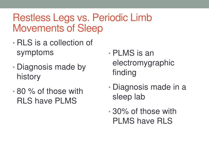 Restless Legs vs. Periodic Limb Movements of Sleep