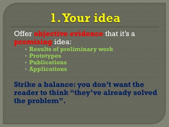 1. Your idea