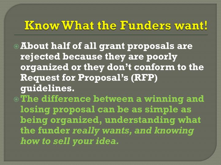 Know What the Funders want!