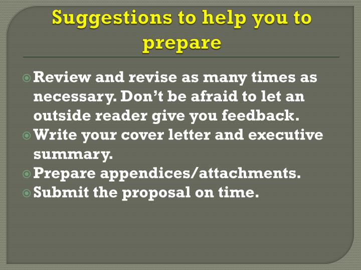 Suggestions to help you to prepare