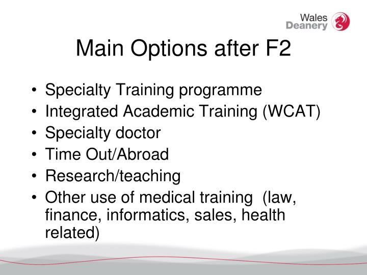 Main Options after F2