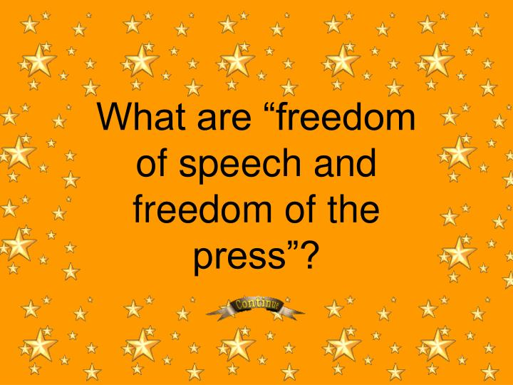 "What are ""freedom of speech and freedom of the press""?"