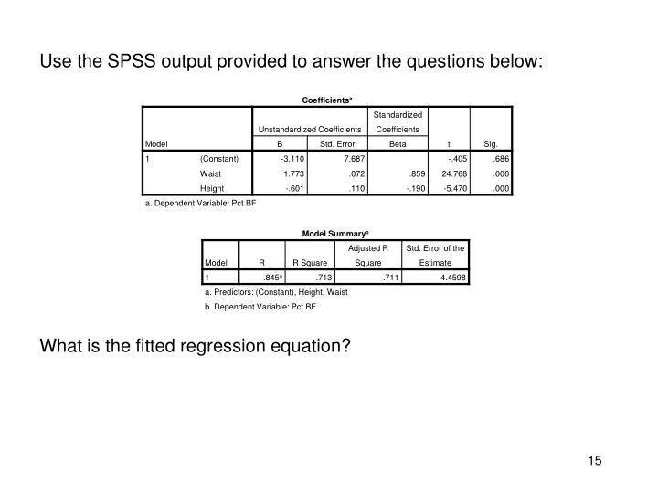 Use the SPSS output provided to answer the questions below: