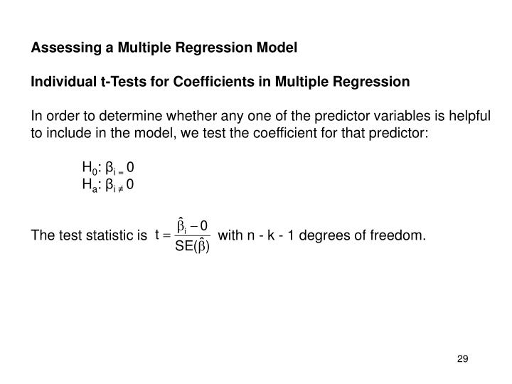 Assessing a Multiple Regression Model
