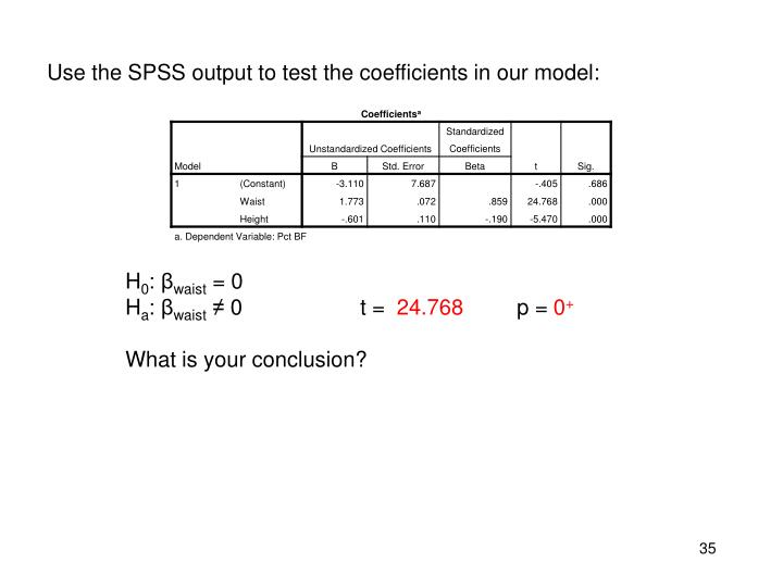 Use the SPSS output to test
