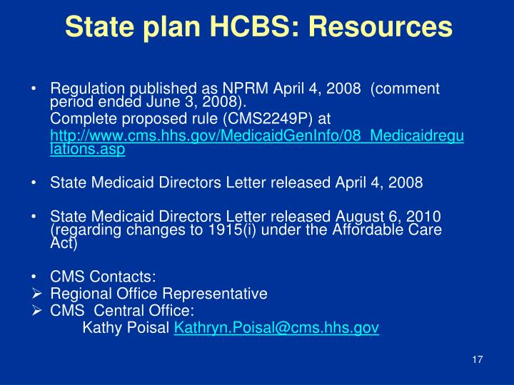 State plan HCBS: Resources