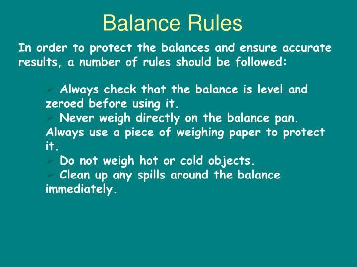 Balance Rules