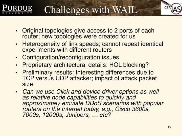 Challenges with WAIL