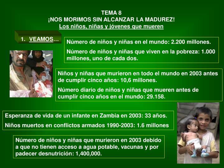 Número de niños y niñas en el mundo: 2.200 millones.