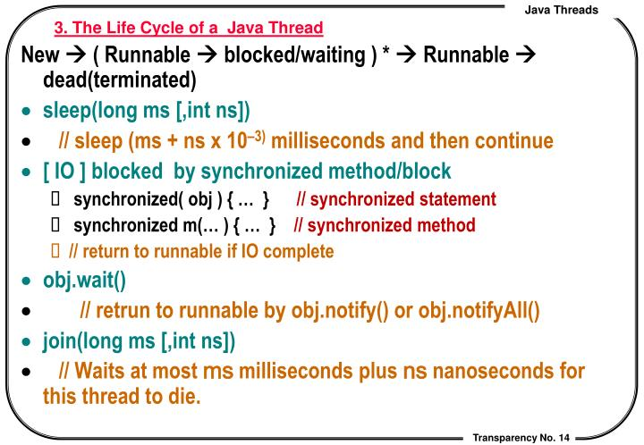 3. The Life Cycle of a  Java Thread
