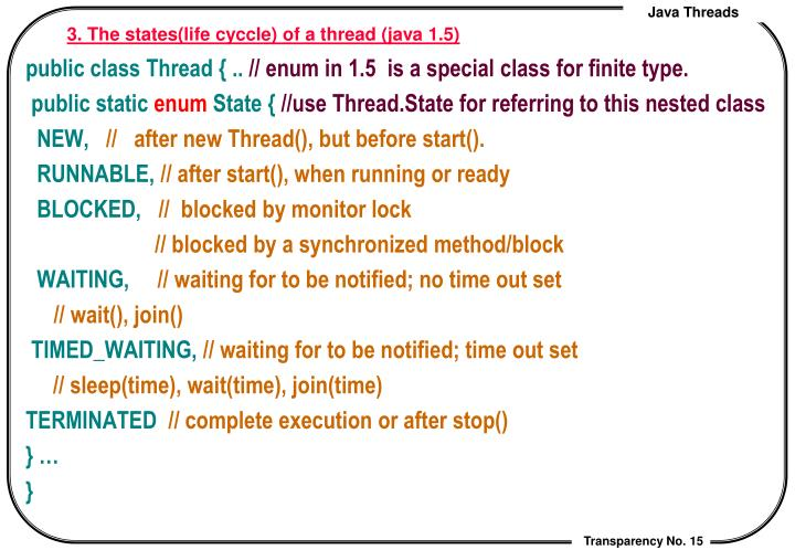 3. The states(life cyccle) of a thread (java 1.5)