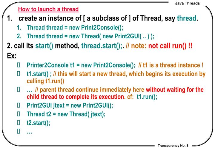 How to launch a thread