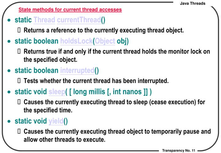 State methods for current thread accesses