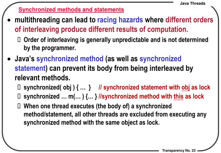 Synchronized methods and statements