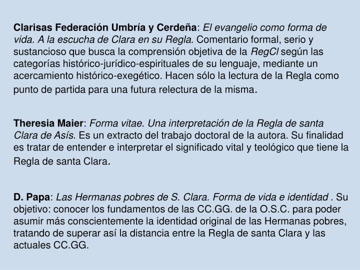 Clarisas Federación Umbría y Cerdeña