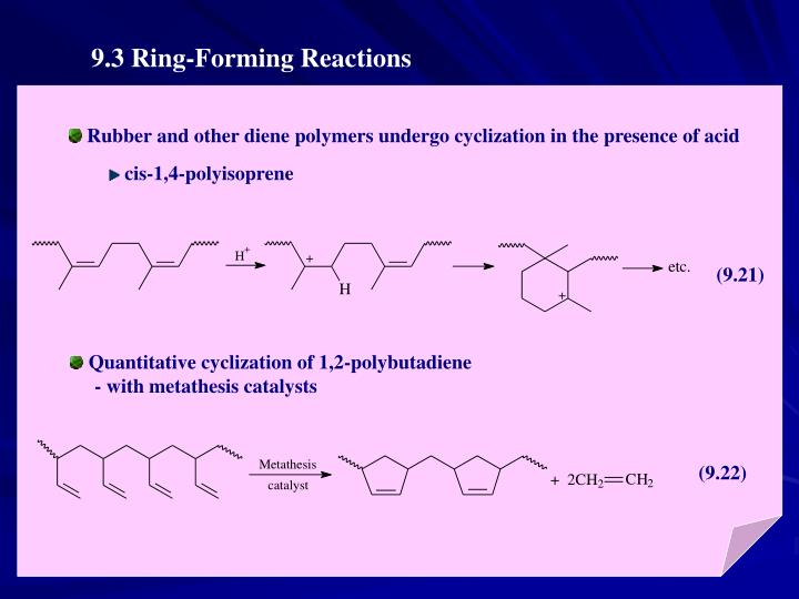Rubber and other diene polymers undergo cyclization in the presence of acid