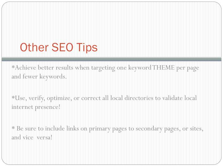 Other SEO Tips