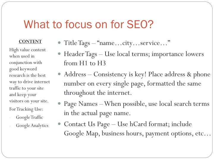 What to focus on for seo