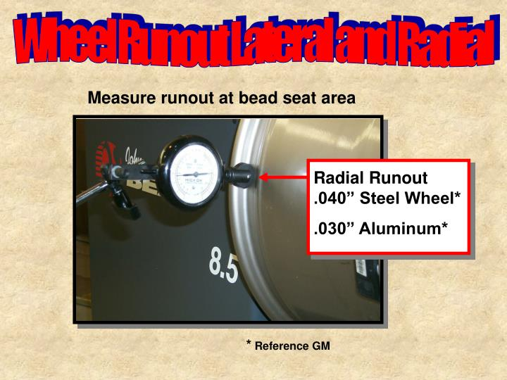 "Radial Runout .040"" Steel Wheel*"