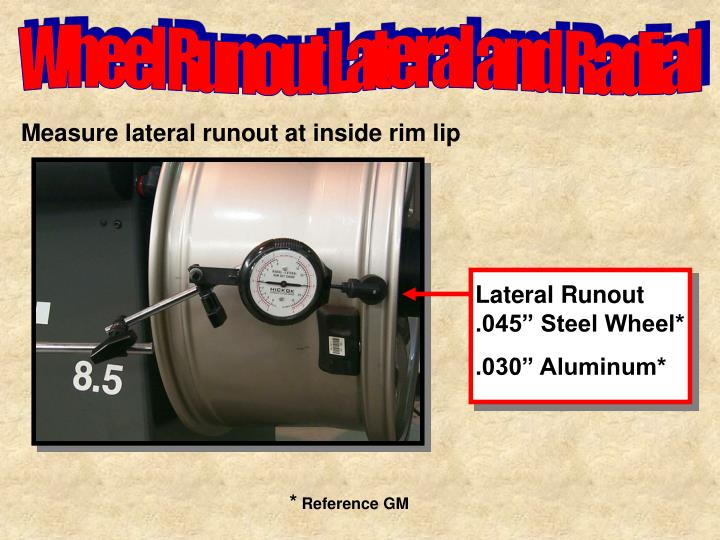 "Lateral Runout .045"" Steel Wheel*"