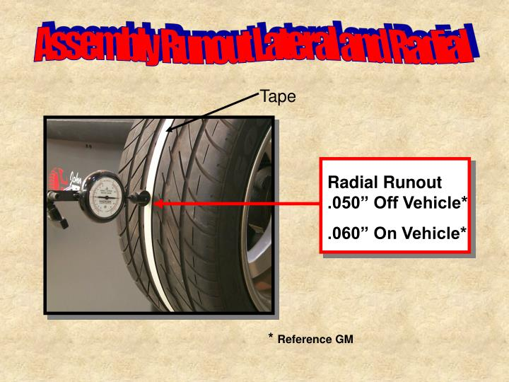 "Radial Runout .050"" Off Vehicle*"