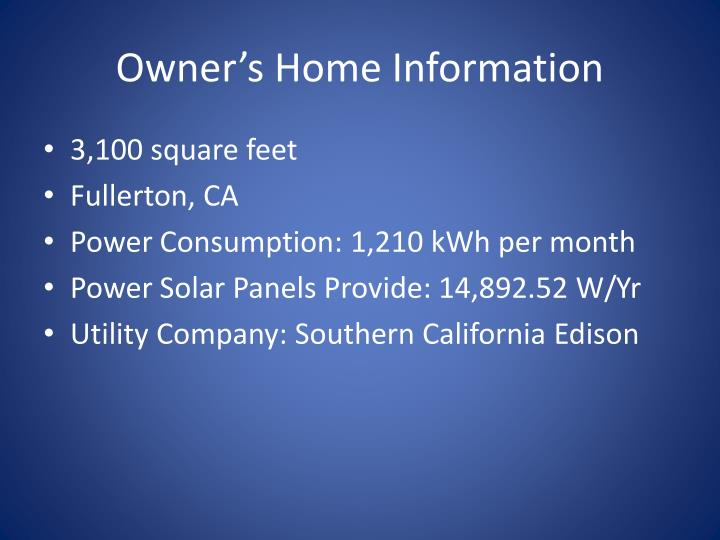 Owner's Home Information