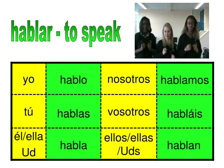 hablar - to speak