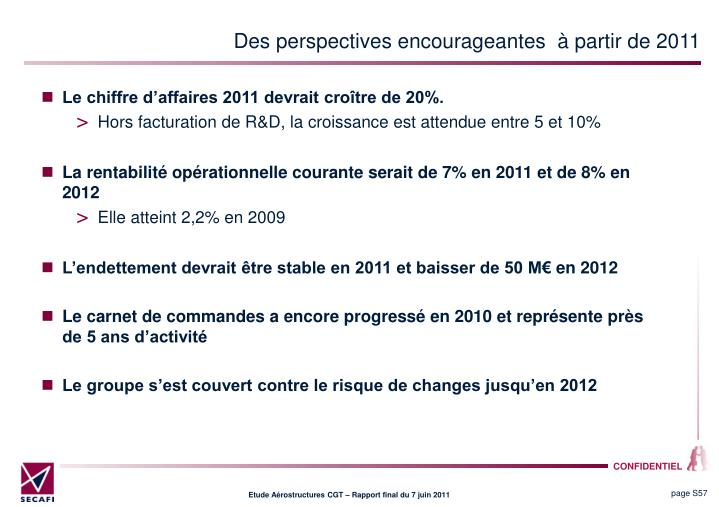 Des perspectives encourageantes   partir de 2011