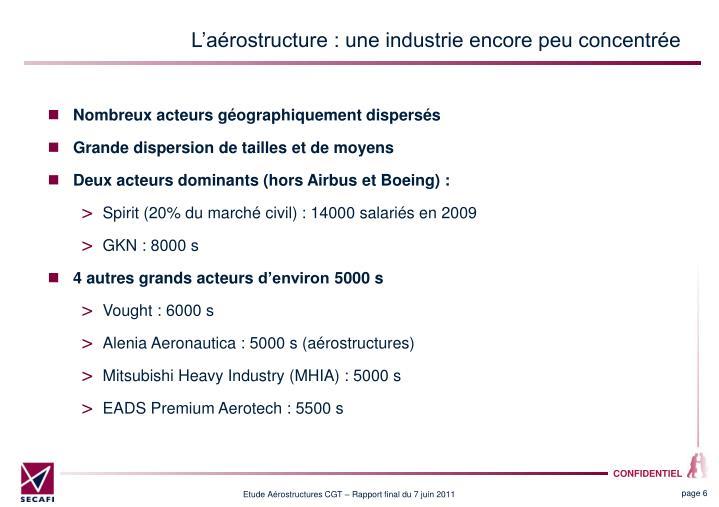 L'aérostructure : une industrie encore peu concentrée