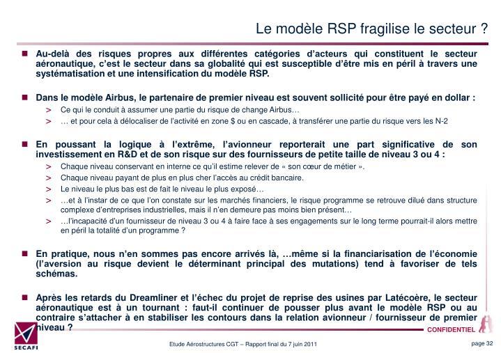 Le modèle RSP fragilise le secteur ?